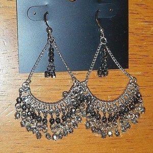 Silver Rhinestones Chandelier Long Dangle Earrings